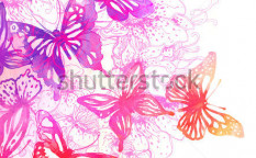 Stock-photo-amazing-background-with-butterflies-and-flowers-painted-with-watercolors-75193375