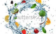 Stock-photo-fruit-in-water-splash-on-white-background-109984454