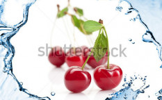 Stock-photo-red-cherry-with-leaves-and-water-splash-isolated-on-white-84442663