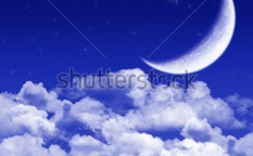 Stock-photo-new-moon-and-stars-shining-above-blue-clouds-8275807