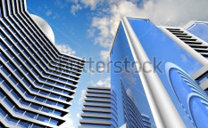 Stock-photo-modern-skyscrapers-on-cloudscape-background-95253970