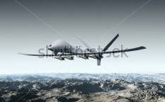 Stock-photo-illustration-of-a-combat-drone-flying-over-barren-mountains-116570707