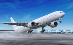 Stock-photo-white-passenger-plane-is-landing-away-from-airport-68855554