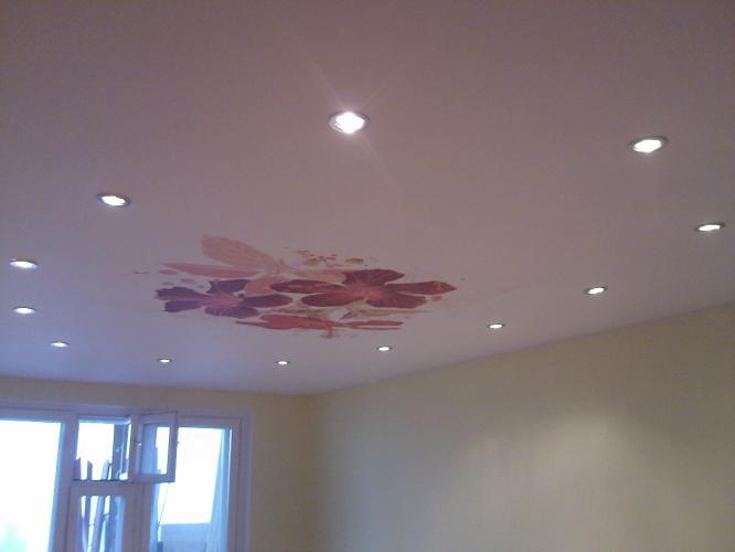 натяжные потолки со встроенными светильниками фото в зал